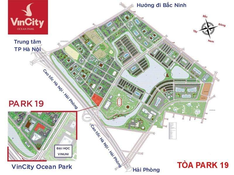 Quy hoạch vị trí Tòa Park 19 Vincity Ocean Park